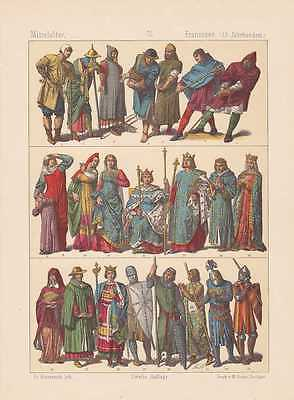 Frankreich Franzosen Mode Trachten LITHOGRAPHIE von 1883 13. Jahrhundert