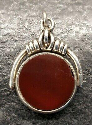 Antique Silver Carnelian & Bloodstone Albert Pocket Watch Chain Spinning Fob.