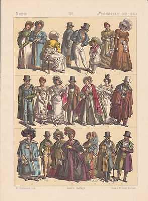 Westeuropäer Kleidermode Biedermeier LITHOGRAPHIE von 1883 Trachten Mode