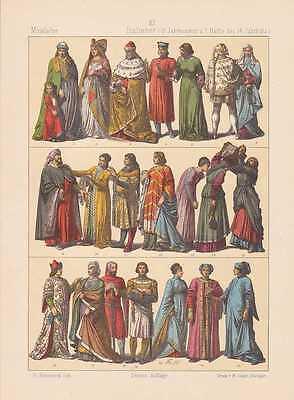 Italiener Italien Mode Trachten LITHOGRAPHIE von 1883 Venetianer Mittelalter