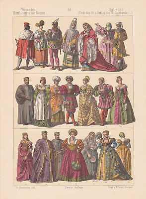 Italiener Italien Mode Trachten LITHOGRAPHIE von 1883 Mittelalter