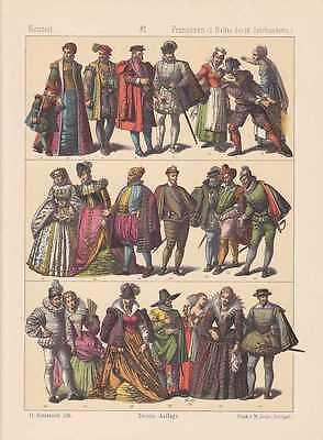 Frankreich Franzosen Mode Trachten LITHOGRAPHIE von 1883 Mittelalter