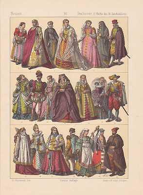 Italiener Italien Mode Trachten LITHOGRAPHIE von 1883 Kleidermode Mittelalter