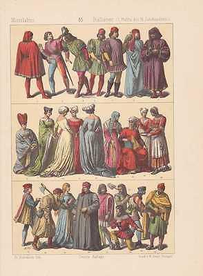Italiener Italien Mode Trachten LITHOGRAPHIE von 1883 Florentiner Medici Siena