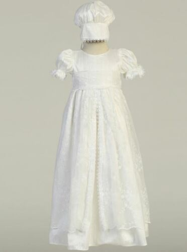 Baby Girls White Silk Embroidered Tulle Baptism Christening Gown Bonnet 6-12 M