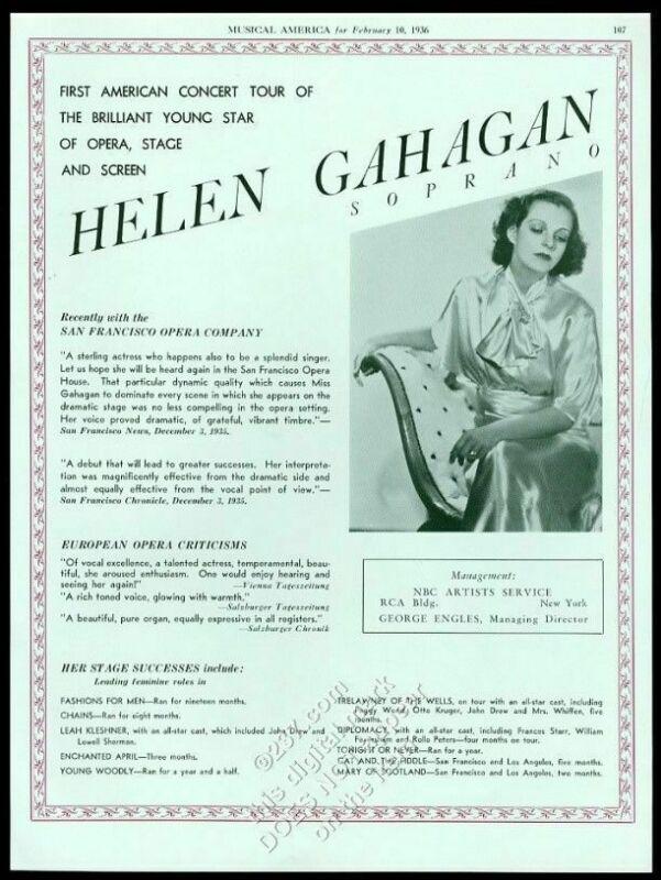 1936 Helen Gahagan photo singing recital USA tour trade booking ad