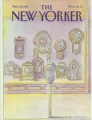 COVER ONLY ~The New Yorker magazine ~ March 30 1981 ~ MIHAESCO ~ Clock -
