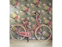 Vintage Style Pink Ladies Bicycle with basket
