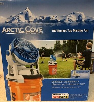 Arctic Cove 18V Cordless Ryobi Compatible Misting Bucket Cooling Outdoor Fan NEW