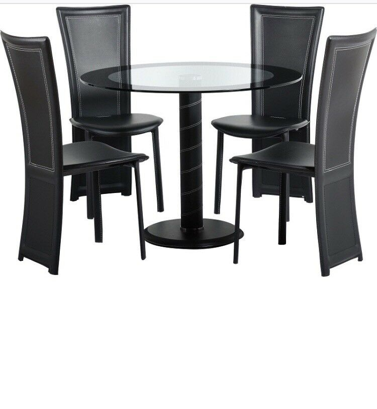 Cameo 100cm Gl Round Dining Table And 4 Chairs Set Brand New Still In Box