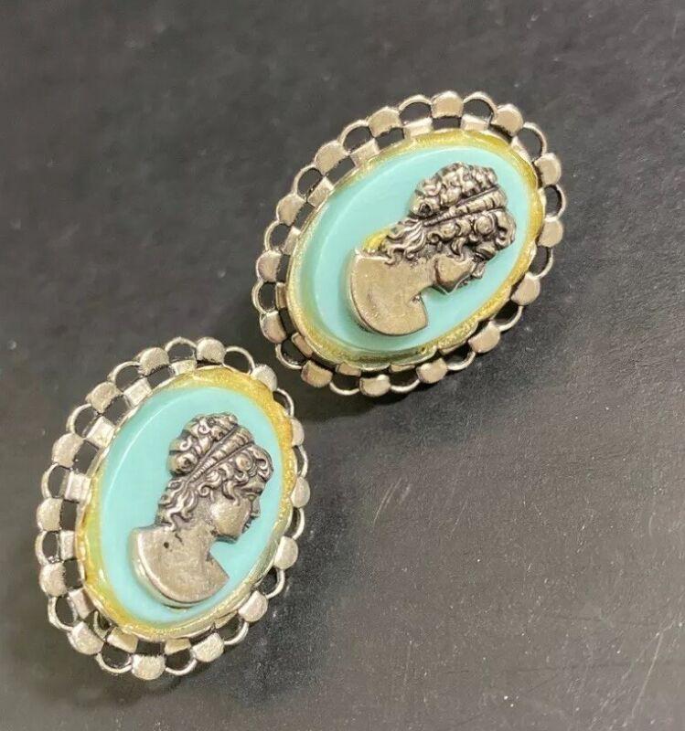 Vintage Cameo Screw-back Earrings - Silver & Blue - Beautiful! - Retro Royalty