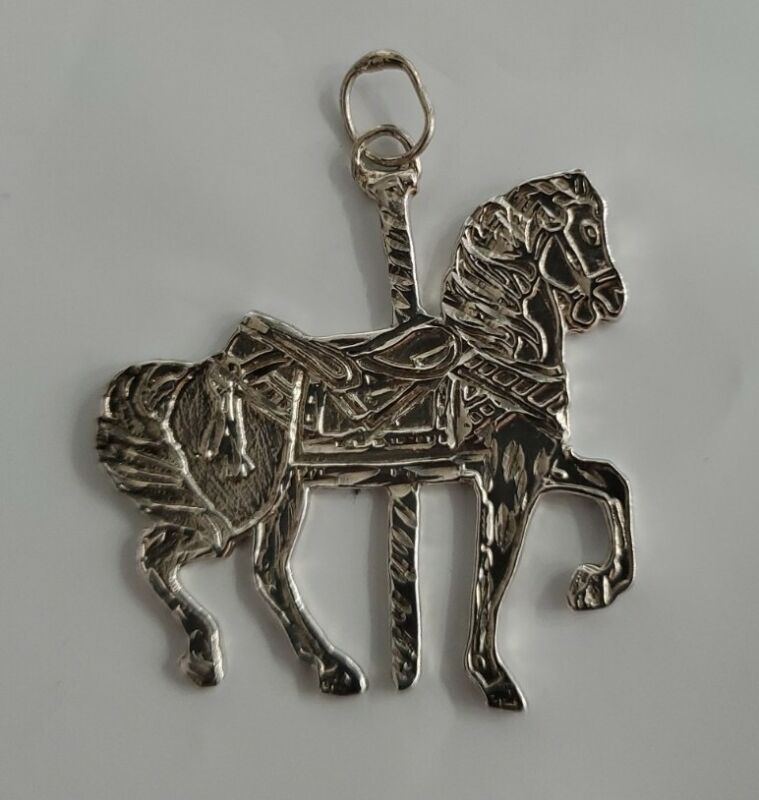 Sterling Silver .925 Merry Go Round Carousel Horse Carnival Ride Pendant Charm