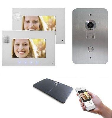 2 Draht Video Türsprechanlage Gegensprechanlage 2x7'' Monitor WLAN Schnittstelle