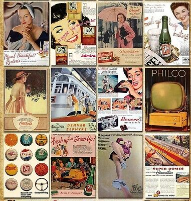 LOT 32 pcs Vintage Retro Postcards Card Old Ads Advertising Posters Beauty Bulk