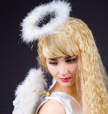 Heiligenschein weiß mit Marabu-Besatz Weihnachten Schein Engel Kostüm 125783513