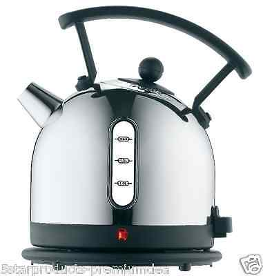 NEW DUALIT DOME KETTLE BLACK 1.7L STAINLESS STEEL TEA CUP LITER BOILS CORDLESS