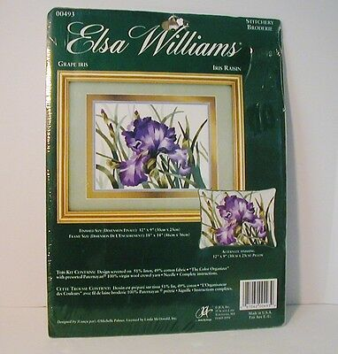 Elsa Williams Grape Iris Crewel Kit New Sealed Pillow or Picture Michelle Palmer