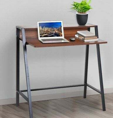 Small Writing Desk Vintage Industrial Table Metal Computer Furniture Office PC