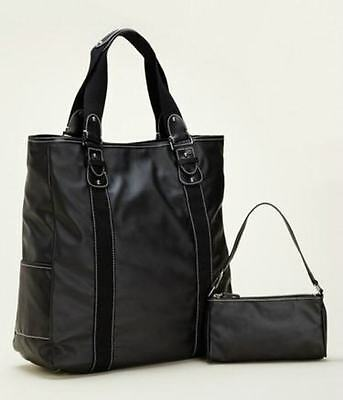 NWT CLAVA CARINA WEEKENDER CARRY ON VERTICAL TOTE BLACK LEATHER & - Clava Carry On