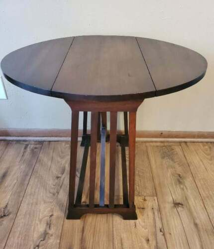 Vintage Walnut Mission Oak Style Drop Leaf End Table Side Table - $170.99