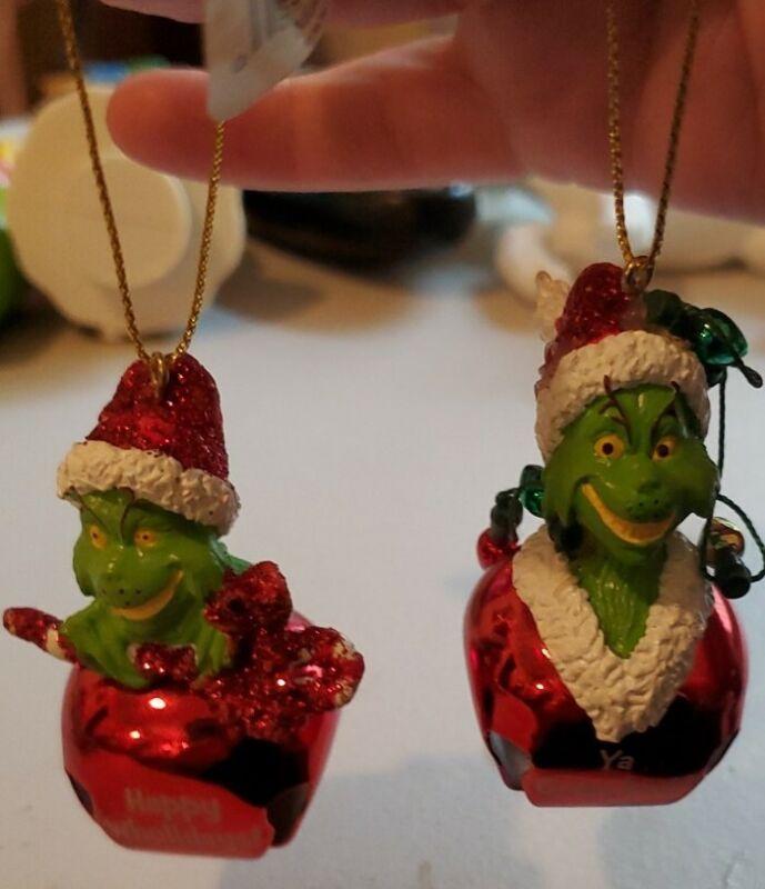 "2 Jiggle Buddies GRINCH SANTA Bells Ornaments ""Ya Grinched"" ""Happy Wholidays"""