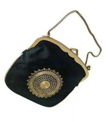 1950s Handbags, Purses, and Evening Bag Styles VTG Steiner Satin Purse Ornate Bag Gold Frame Lurex Embroidery Made in Israel $53.42 AT vintagedancer.com