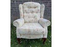 Beautiful Fabric Queen Anne Wing Back Chair - Uk Delivery