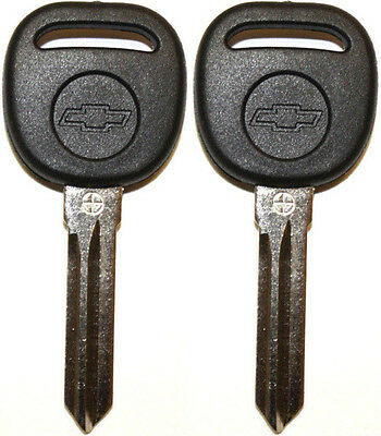 Pair New Uncut Cadillac Chevy Transponder Chip Ignition Key B111 Pt W Chevy Logo