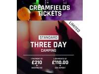 X1 Creamfields 3 day Standard Camping
