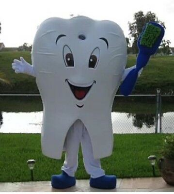 Tooth With Brush Dental Care Dentist Advertising Mascot Costume Party - Tooth Costumes
