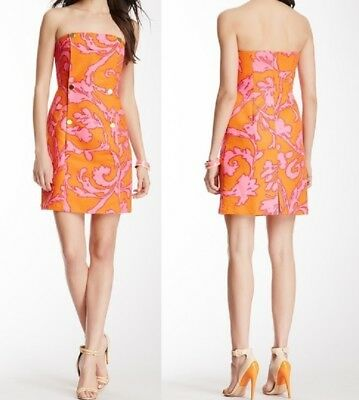 NWT Julie Brown 6 Dress Donna Military Tube Sexy Pink Martha Vineyard Strapless