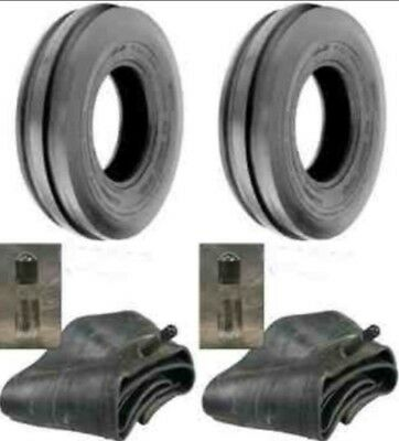 Two New 4.00-19 Tri-rib 3 Rib Front Tractor Tires Tubes 8n 9n Ford Hd