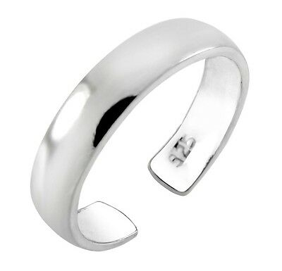 Genuine 925 Sterling Silver Plain 3.7mm Wide High Polished Toe Ring