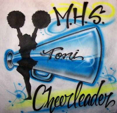 Airbrushed Cheer Megaphone Personalized T-Shirt with Any Name Team and Colors
