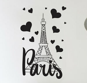 Paris France Eiffel tower love wall art decal decor vinyl sticker mural