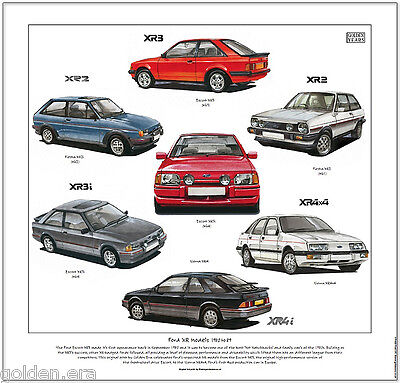 FORD XR MODELS 1980 to 89 - Fine Art Print - Escort XR3i Sierra XR4i Fiesta XR2i