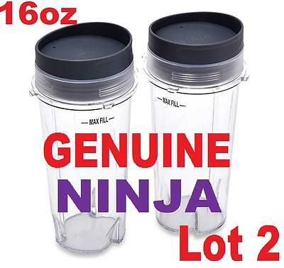 2-pack Ninja 16oz Cup with Lid for BL770 BL810 BL820 BL740 BL660 BL663 BL663CO (16 Oz Cup)