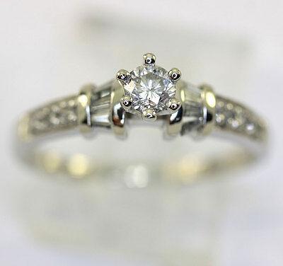 Platinum diamond engagement ring round brilliant baguette channel set .45CT sz 9 Channel Set Baguette Engagement Ring