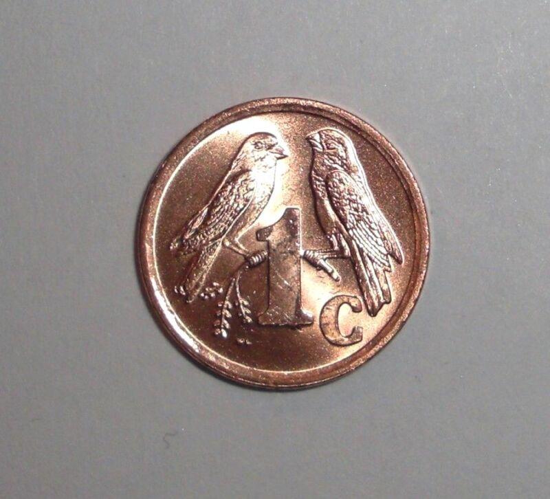 South Africa, 1 cent, Sparrow, bird animal wildlife coin