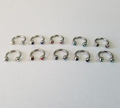 "10pc 16G 5/16"" Steel Horseshoe Circular Barbell Two jeweled ball Eyebrow Ring"