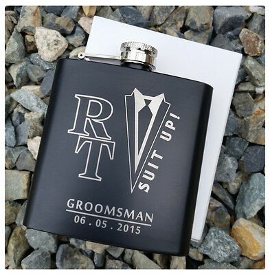 Personalized Flask, Best Man Groomsmen Bridesmaid Gifts Wedding Present Suit