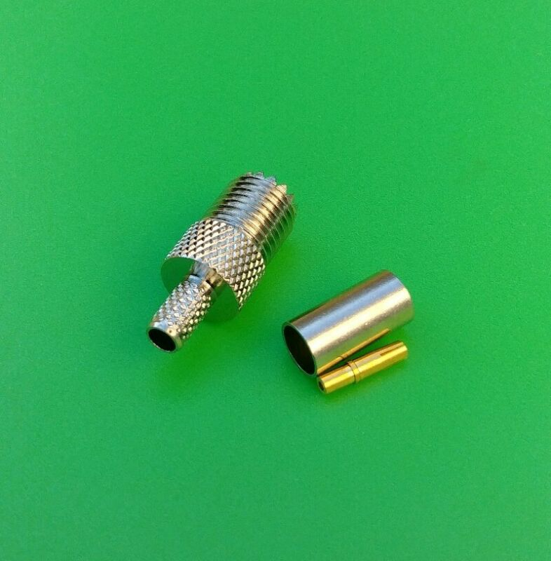 (10 PKS) Mini UHF Female 3PC Crimp-On RG58/142/400 LMR195 Connector-USA Seller