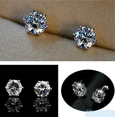 18k Brilliant Cut Stud - 18K White Gold Plated Stud Earrings Round Brilliant Cut white CZ's Nickel Free