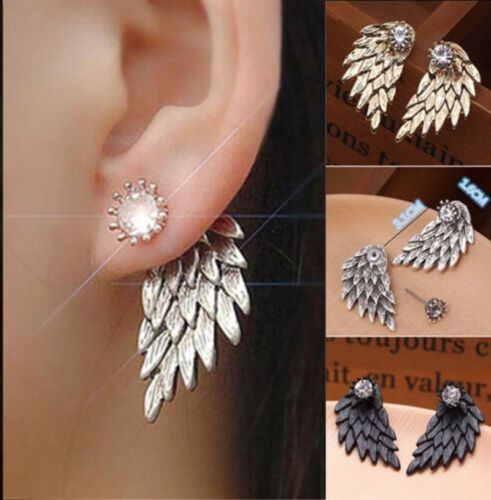Lady Gothic Angel Wings Earrings Rhinestone Personalized Front Back Stud Earring