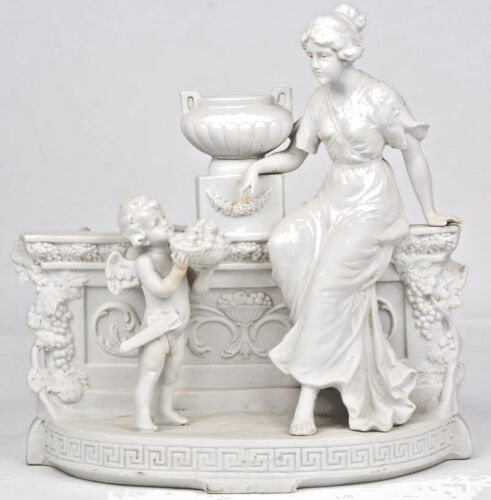 Antique German grafenthal marked bisque porcelain jardiniere planter putti lady