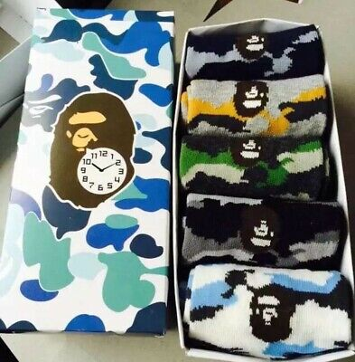 A BATHING APE Men's AAPE SOCKS Bape Socks Stacking One Set 5 Pairs With Box Hot