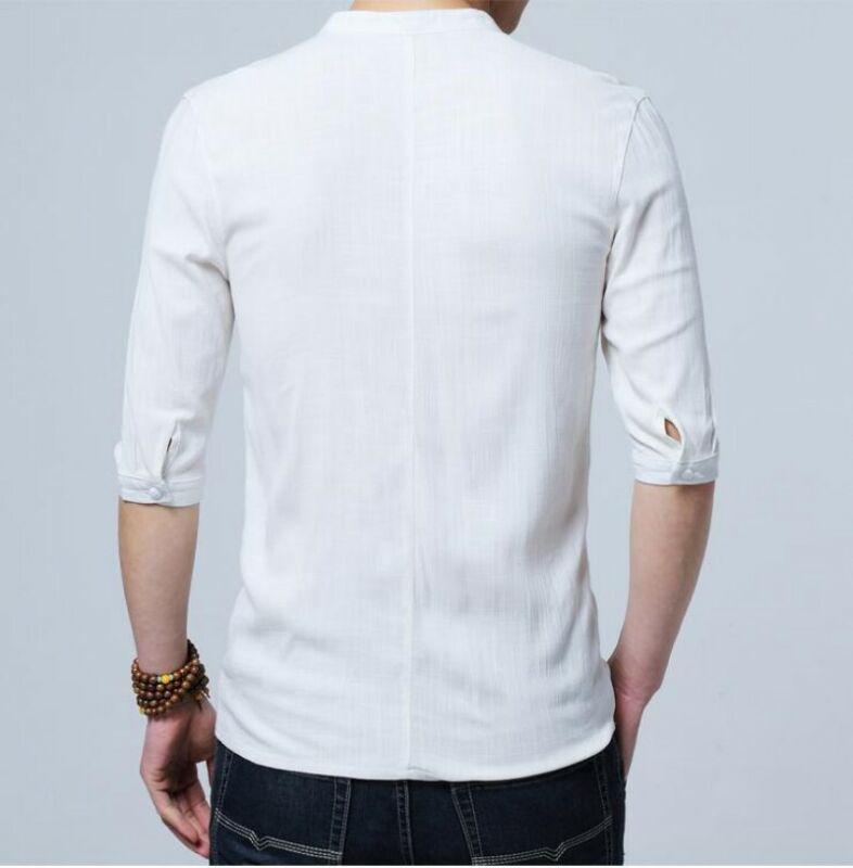 Mens Vintage Hanfu Shirts Stand Collar Casual Shirts Slim Fit Half Sleeve Tops