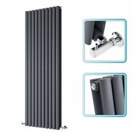 ANTHRACITE VERTICAL DOUBLE OVAL TUBED RADIATOR 1400 X 590MM, NEW