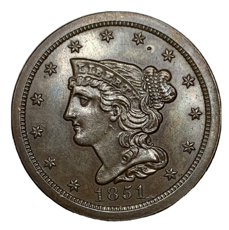 1851/1 Half Cent, Braided Hair, Nice & Sharp Brilliant Uncirculated+Early Copper