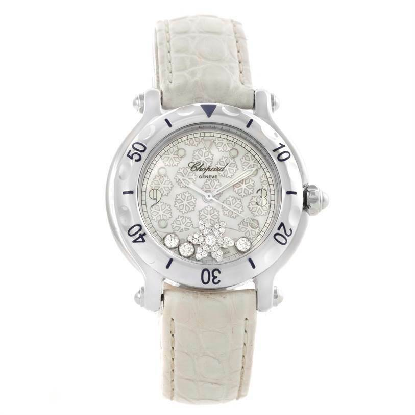 Chopard Happy Sports WatchDiamond Snowflake White Band 32mm - watch picture 1
